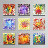 cheap Oil Paintings-Hand-Painted Abstract Horizontal, Abstract Canvas Oil Painting Home Decoration More than Five Panels