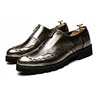 お買い得  メンズスリッポン&ローファー-男性用 靴 PUレザー 春 秋 ライト付きソール ローファー&スリップアドオン ウォーキング ジッパー のために カジュアル ゴールド ブラック