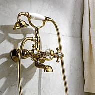 Klassinen tyyli Ylellisyys Seinäasennus Vesiputous Mukana käsisuihku Seinäasennus Messinkiventtiili Kolme kahvat kaksi reikää Ti-PVD ,
