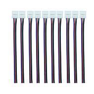 Rgb 4 pin 10mm led konektor s pigtail (10ks) flexibilní světelný pás bez pájky svorka na pigtail adaptér pro šířku 10mm 5050 rgb