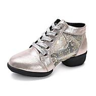 Dames Danssneaker Kunstleer Sandalen Sneaker Professioneel Bloemen Lage hak Goud Zwart Zilver 3,5cm