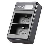 Andoer® lp-e6 şarj edilebilir ledli ekran li-ion pil şarj cihazı paketi Canon eos'lar için 2 yuvalı usb kablo seti 6d 7d 70d 60d 5d marka