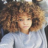 Femme Perruque Synthétique Sans bonnet Mi Longue Frisés Blond Perruque afro-américaine Pour Cheveux Africains Perruque Naturelle Perruque