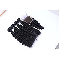 Cabelo Humano Cabelo Brasileiro Cabelo Humano Ondulado Ondas Médias Extensões de cabelo 5 Peças Preto
