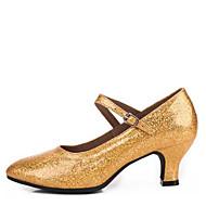 Dame Moderne Kunstlær Høye hæler Innendørs Spenne Tykk hæl Gull Sølv Grå Rød 5,5 cm