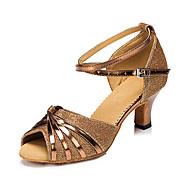 baratos Sapatilhas de Dança-Mulheres Sapatos de Dança Latina Courino Sandália / Têni Presilha Salto Robusto Personalizável Sapatos de Dança Prata / Vermelho / Bronze