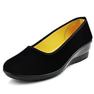 baratos Sapatos Femininos-Mulheres Sapatos Tecido Primavera / Verão Conforto Saltos Salto Plataforma Ponta Redonda Preto / Calcanhares