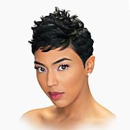 Mulher Perucas de cabelo capless do cabelo humano Preto jet Curto Ondulado Natural Corte Pixie Com Franjas Parte lateral