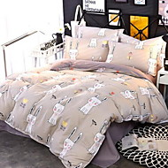 cheap Contemporary Duvet Covers-Cartoon 4 Piece Cotton Cotton 1pc Duvet Cover 2pcs Shams 1pc Flat Sheet