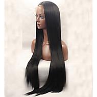 נשים פאות סינתטיות חזית תחרה ארוך ישר שחור פאה טבעית פאות תלבושות