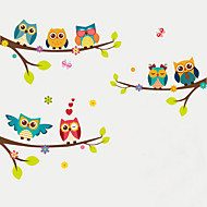 Wall Stickers Wall Decas Style Cartoon Owl Branch PVC Wall Stickers
