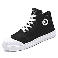 cheap Black High Tops-Men's Sneakers Comfort Spring Summer Fall Winter Canvas Walking Shoes Casual Party & Evening Outdoor Lace-up Flat Heel White Black Gray