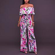 Kadın's Düşük Omuz Geniş Bacak Çiçekli Günlük / Dışarı Çıkma / Çalışma Kayık Yaka Gökküşağı Geniş Bacak Tulumlar, Çiçekli Fırfırlı / Çiçek / Desen M L XL Yüksek Bel Pamuklu Kısa Kollu Yaz Sonbahar