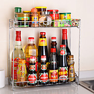 Double-Deck Stainless Steel Spicy Rack Storage Seasoning Bottles Shelf