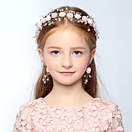 Girl's Headband Colorblock Flowers Decorative Pearl Hair Accessory