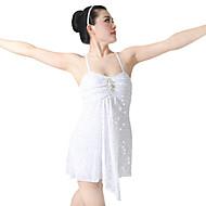 billige Udsalg-Optræden / Ballet Kjoler Dame Ydeevne Spandex / Pailletter / Lycra Draperet / Krystalblomsternål / Strå Uden ærmer Høj Trikot / Heldragtskostumer / Kjole / Moderne Dans / Opvisning