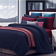 Solid Color 4 Piece Cotton Cotton 1pc Duvet Cover 2pcs Shams 1pc Flat Sheet