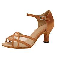 baratos Sapatilhas de Dança-Mulheres Sapatos de Dança Latina Seda Sandália Cruzado Salto Agulha Personalizável Sapatos de Dança Amêndoa / Espetáculo / Couro
