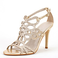 Women's Sandals Novelty Toe Ring Spring Summer Patent Leather Glitter Dress Party & Evening Button Split Joint Stiletto Heel Gold Silver