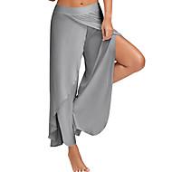 בגדי ריקוד נשים יום יומי מידות גדולות משוחרר רגל רחבה מכנסיים מפוצל, אחיד