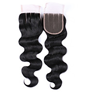 8-20 Inches Grade 7A Natural Black Body Wave Hair Closures 100% Unprocessed Brazilian Human Hair Free/Middle/3 Part 4x4 Swiss Lace Top Closures