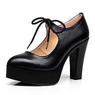 Feminino Saltos Sapatos formais Couro Ecológico Primavera Outono Social Corrente Cadarço Salto Grosso Branco Preto 7,5 a 9,5 cm