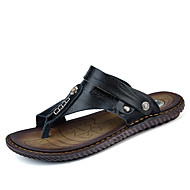 Men's Shoes Nappa Leather Summer Comfort Sandals For Outdoor Black Dark Blue