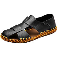 Bărbați Sandale Confortabili Tălpi cu Lumini PU Primăvară Toamnă Casual Confortabili Tălpi cu Lumini Pliuri Toc PlatNegru Maro Deschis
