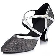 billige Moderne sko-Dame Moderne Glitter Sandaler Opptreden Kryss & Tvers Stiletthæl Sølv/Svart Naken 7,5 cm Kan spesialtilpasses