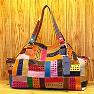 Women Bags Cowhide Shoulder Bag Split Joint for Casual All Seasons Rainbow
