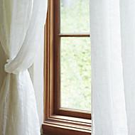 billige Gjennomsiktige gardiner-Stanglomme Propp Topp Fane Top Dobbelt Plissert Window Treatment Chic & Moderne Middelhavet Neoklassisk Land, Garn Bleket Ensfarget Stue
