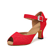"""cheap Dance Shoes-Women's Latin Fabric Leatherette Sandal Heel Performance Buckle Customized Heel Red 1"""" - 1 3/4"""" 2"""" - 2 3/4"""" 3"""" - 3 3/4"""" 4"""" & Up"""