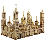 cheap -3D Puzzles Jigsaw Puzzle Wood Model Model Building Kits Church Architecture 3D DIY Simulation Wooden Wood Classic 6 Years Old and Above