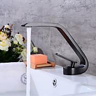 billige Sprinkle®-kraner-Moderne Centersat Utbredt Keramisk Ventil Enkelt Håndtak Et Hull Olje-gnidd Bronse, Baderom Sink Tappekran