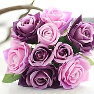 hesapli -2 şube İpek Polyester Güller Masaüstü Çiçeği Yapay Çiçekler