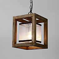 Single Head Vintage Painting Feature Mini Style Wood / Bamboo with Glass Chandelier Lamp for the Entry / Living Room /Kids Room Decorate Pendant Lamp
