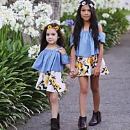 Toddler Girls' Floral / Dresswear Floral / Fashion Print Short Sleeve Regular Regular Cotton Clothing Set Blue
