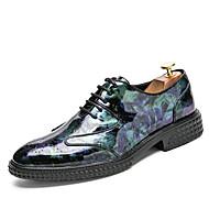 お買い得  大きいサイズ/小さいサイズ 靴-男性用 靴 エナメル 秋 / 冬 ライト付きソール / フォーマルシューズ ウェディングシューズ ブラック / ワイン / ライトグリーン / パーティー / オックスフォード印刷