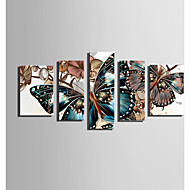 E-HOME Stretched Canvas Art Butterflies And Orchids Decoration Painting Set Of 5