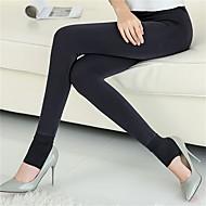 Legging médio de cor sólida de mulher, listrado, forro, grosso