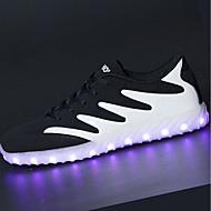 billige -Herre Sportssko Lette såler Lysende sko Vår Høst PU Gange Atletisk Snøring LED Flat hæl Svart og Gull Svart/Hvit Flat