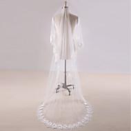 Uma Camada Borda com aplicação de Renda Véus de Noiva Véu Capela Véu Catedral Com Apliques Renda Tule