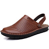 Men's Sandals Comfort Summer Fall Leather Water Shoes Casual Dress Outdoor Black Dark Blue Coffee Under 1in