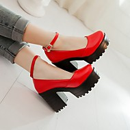 Women's Shoes PU Spring Fall Comfort Heels Chunky Heel Round Toe For Casual White Black Red