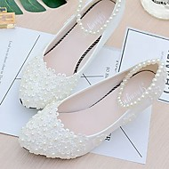cheap Women's Shoes-Women's Wedding Shoes Slingback Spring Fall Lace PU Wedding Dress Party & Evening Office & Career Applique Beading Imitation Pearl Flower
