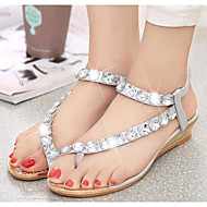 Women's Sandals Comfort Summer PU Casual Gold Silver Flat