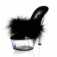 cheap Extended-Size Shoes-Women's Shoes Feather/ Fur PVC Summer Formal Shoes Sandals Stiletto Heel Peep Toe Crystal Feather for Dress Party & Evening White Black