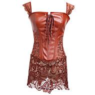 Dame Snørring Korsetkjole Ensfarvet - Medium Brun Rød