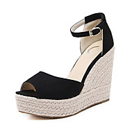 cheap Women's Sandals-Women's Shoes Suede Summer Fall Comfort Novelty Heels Walking Shoes Wedge Heel Peep Toe Buckle for Dress Black
