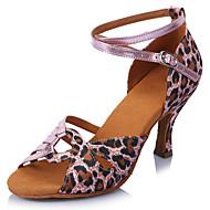 """baratos Sapatilhas de Dança-Feminino Latina Cetim Sandália Salto Profissional Leopardo Presilha Salto Agulha Leopardo 2 """"- 2 3/4"""" Personalizável"""